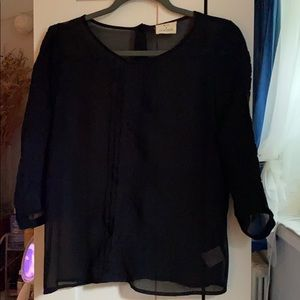 Black see through blouse. Sleeves 3/4th